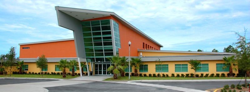 A front view of the JCC in Orlando