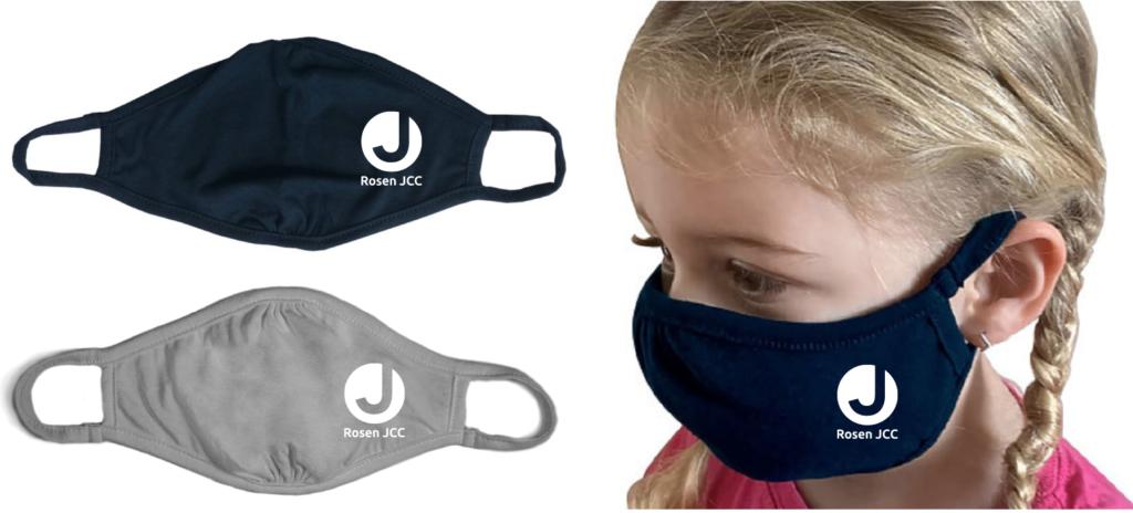 Child wearing face mask with Rosen JCC logo.